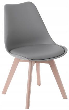 Krzesło Kris nowoczesne z poduszką drewno bukowe szary