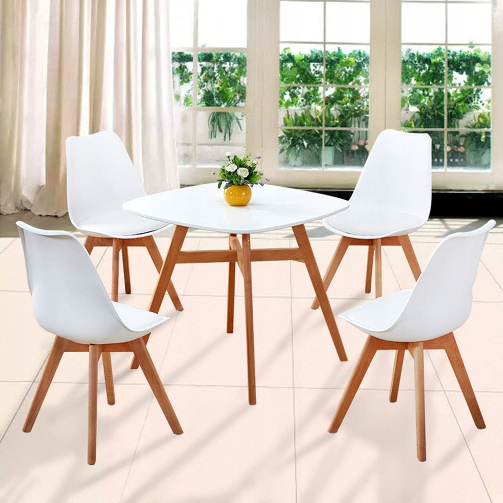 Krzesło Kris nowoczesne z poduszką drewno bukowe biały