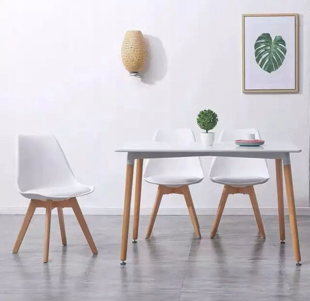 Zestaw Krzesła Kris nowoczesne z poduszką drewno bukowe 4 sztuki białe